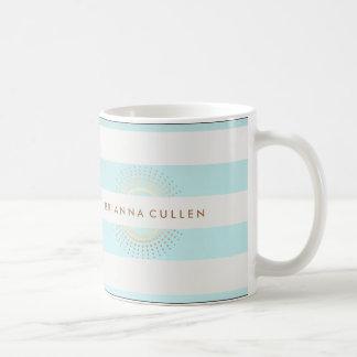 Elegant Striped Turquoise and Gold Circles Coffee Mug
