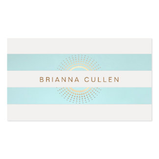 Elegant Striped Turquoise and Gold Circles Double-Sided Standard Business Cards (Pack Of 100)