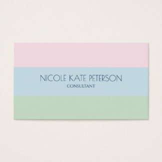 Elegant Stripes Cool Pastel Colors Consultant Business Card