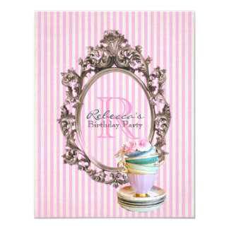 elegant stripes cupcake vintage birthday party card
