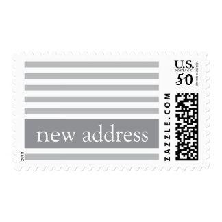 Elegant stripes gray modern new address moving postage