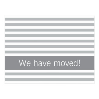 Elegant stripes gray modern new address moving postcard