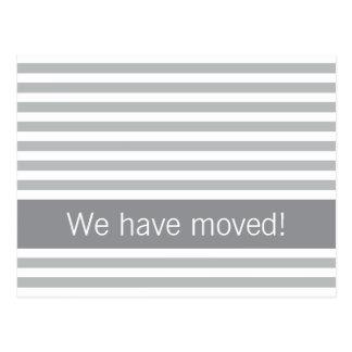 Elegant stripes gray modern new address moving postcard