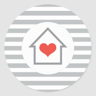 Elegant stripes house heart new address moving classic round sticker
