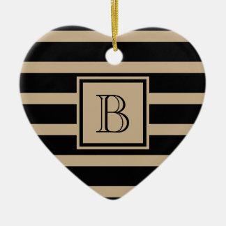 Elegant Stripes w Monogram Black & Taupe Ceramic Ornament