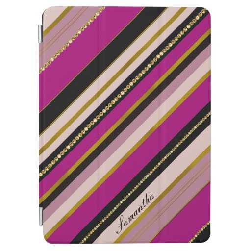 Elegant stripy monogram purple golden design iPad air cover