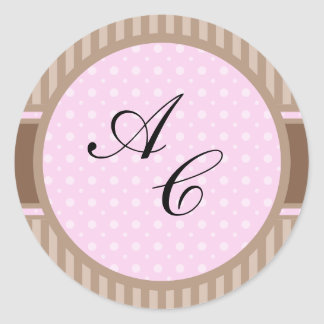 Elegant Style 2 (Add Your Initials) Classic Round Sticker
