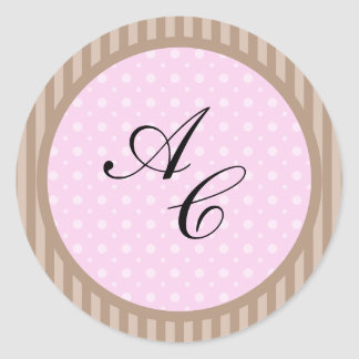 Elegant Style (Add Your Initials) Classic Round Sticker