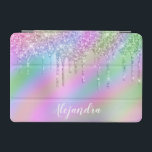 """Elegant stylish colorful holographic glitter drips iPad mini cover<br><div class=""""desc"""">This pretty iPad cover design features faux holographic dripping glitter metallic texture and elegant calligraphy font.</div>"""