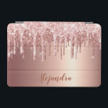 """Elegant stylish copper rose gold glitter drips iPad mini cover<br><div class=""""desc"""">This pretty iPad cover design features faux pink & copper rose gold dripping glitter metallic texture and elegant calligraphy font.</div>"""
