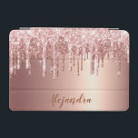 "Elegant stylish copper rose gold glitter drips iPad mini cover<br><div class=""desc"">This pretty iPad cover design features faux pink & copper rose gold dripping glitter metallic texture and elegant calligraphy font.</div>"
