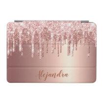 Elegant stylish copper rose gold glitter drips iPad mini cover