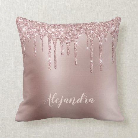 Elegant stylish copper rose gold glitter drips throw pillow