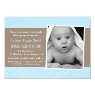 Elegant Stylish Damask Photo Baptism Invitations