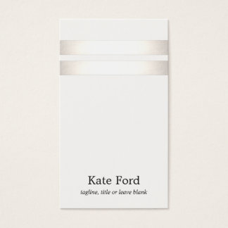 Elegant Stylish Faux Silver Striped Off White Business Card