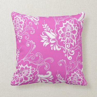 Elegant, stylish. girly lucky pink floral pillow