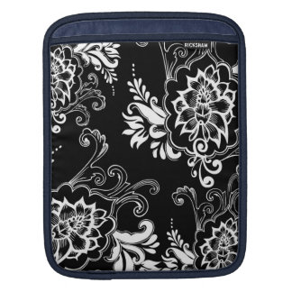 Elegant, stylish. girly, modern cool B&W floral iPad Sleeve
