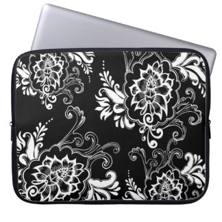 Elegant, stylish. girly, modern cool B&W floral Laptop Sleeve