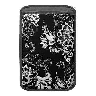 Elegant, stylish. girly, modern cool B&W floral MacBook Air Sleeve