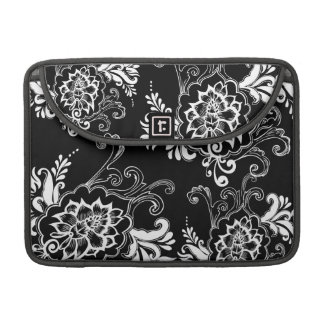 Elegant, stylish. girly, modern cool B&W floral MacBook Pro Sleeve