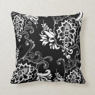 Elegant, stylish. girly, modern cool B&W floral Pillow
