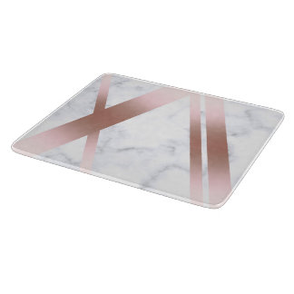 Elegant stylish girly rose gold white marble cutting board