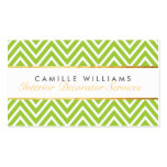 ELEGANT stylish gold chevron pattern lime green Double-Sided Standard Business Cards (Pack Of 100)
