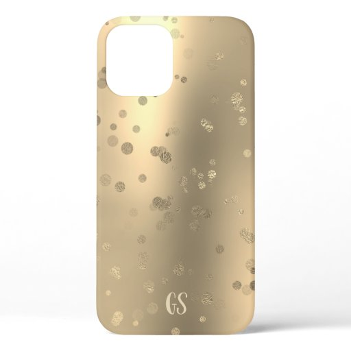 Elegant stylish gold confetti dots monogram iPhone 12 pro case