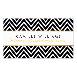 ELEGANT stylish gold strip chevron pattern black Double-Sided Standard Business Cards (Pack Of 100)