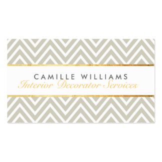 ELEGANT stylish gold strip chevron pattern taupe Double-Sided Standard Business Cards (Pack Of 100)