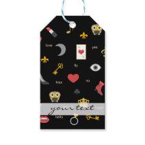 elegant stylish kisses, lips, hearts, owls, notes gift tags