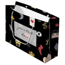 elegant stylish kisses, lips, hearts, owls, notes large gift bag