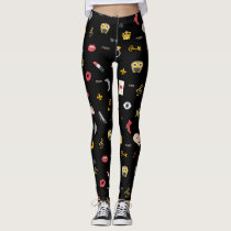 elegant stylish kisses, lips, hearts, owls, notes leggings