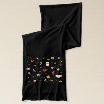 elegant stylish kisses, lips, hearts, owls, notes scarf
