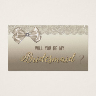 Elegant Stylish,Lace,Bow Will you be my bridesmaid Business Card
