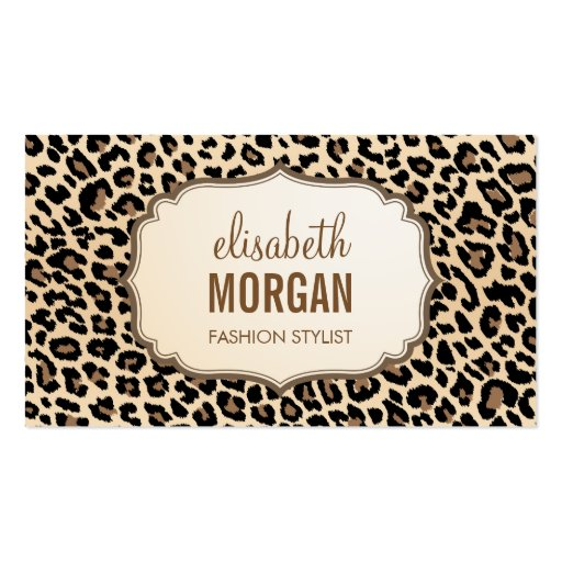 Elegant Stylish Leopard Print Girly Pattern Business Card Template