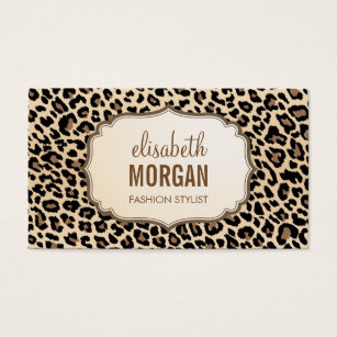 Leopard business cards 1800 leopard business card templates elegant stylish leopard print girly pattern business card colourmoves Image collections