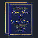 """Elegant stylish modern blue faux gold Wedding Invitation<br><div class=""""desc"""">Elegant stylish modern blue and faux gold Wedding invitation.This luxury gold and blue wedding party invitations is perfect for any classy and sophisticated glam girl. This design is perfect for the trendy and stylish party event. Customize this design with your own message and personalized information. All designs are printed.</div>"""