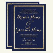Elegant stylish modern blue faux gold Wedding Invitation