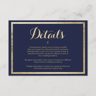 Elegant stylish modern navy blue faux gold Details Enclosure Card