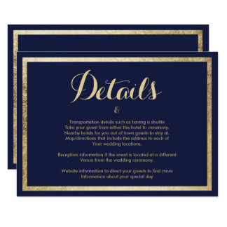 Elegant stylish modern navy blue faux gold Details Invitation