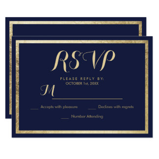 Elegant stylish modern navy blue faux gold RSVP Card