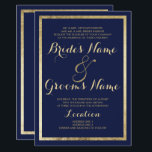 """Elegant stylish modern navy blue faux gold Wedding Card<br><div class=""""desc"""">Elegant stylish modern navy blue and faux gold Wedding invitation.This luxury gold and navy blue wedding party invitations is perfect for any classy and sophisticated glam girl. This design is perfect for the trendy and stylish party event. Customize this design with your own message and personalized information. All designs are...</div>"""