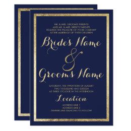 Superieur Elegant Stylish Modern Navy Blue Faux Gold Wedding Card ...