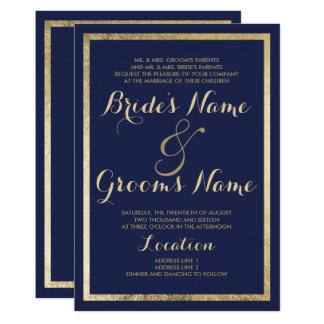 Elegant stylish modern navy blue faux gold Wedding Card