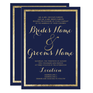 Elegant Stylish Modern Navy Blue Faux Gold Wedding Card