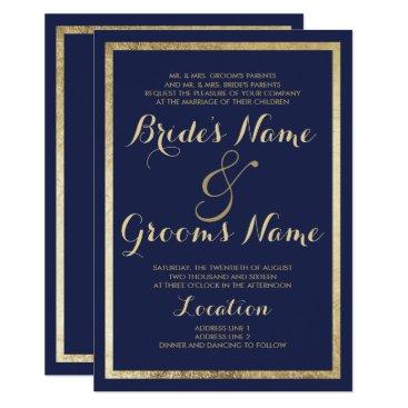 paperi Elegant stylish modern navy blue faux gold Wedding Card