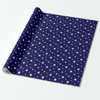 Elegant Stylish Navy White Stars Wrapping Paper