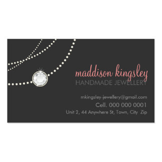 elegant stylish necklace solitaire grey coral pink Double-Sided standard business cards (Pack of 100)