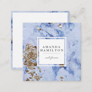 Technician business cards zazzle elegant stylish pale blue marble gold professional square business card reheart Gallery